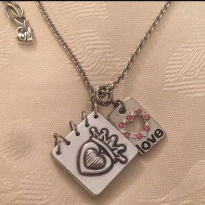 Brighton Silver Tone Love Book Necklace